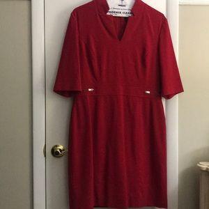 Tahari red knit dress